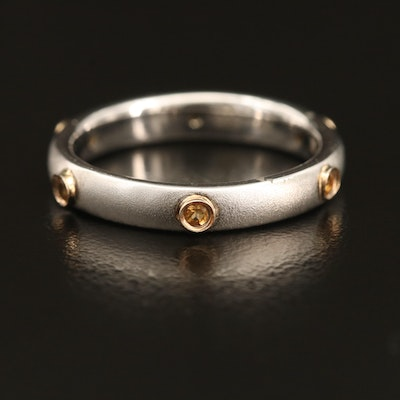 Sterling Silver Citrine Eternity Band with 14K Gold Stations