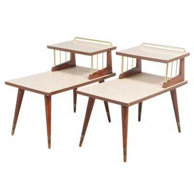 Pair of Mid Century Modern Brass-Mounted Cherrywood and Laminate Side Tables