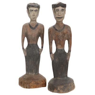 Hand-Carved Wooden Figural Sculptures
