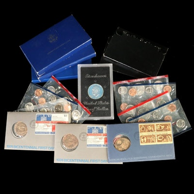 US Mint Proof and Uncirculated Sets with 1986 Liberty Silver Coin Sets
