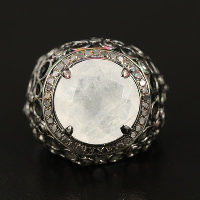 Sterling Moonstone and Diamond Openwork Dome Ring