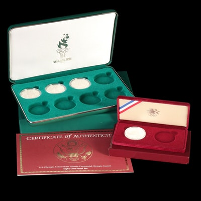 United States Mint 1983 and 1995 Silver Proof Olympic Commemorative Dollars