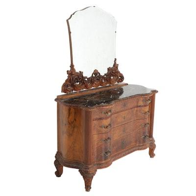 Louis XV Style Figured Walnut-Veneered and Portoro Marble Dresser