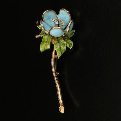 Hattie Carnegie Poured Glass and Enamel Flower Brooch with Rhinestones